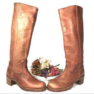 FRYE Vintage Distressed Campus Boot Cognac- 5-1/2